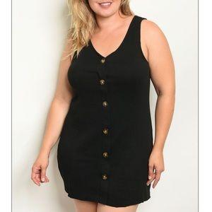 PLUS sleeveless black mini dress w/button detail